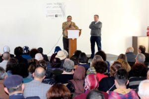 Parents Circle members Bassam Aramin and Rami Elhanan address Peace Conference attendees